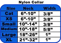 nylon collar size chart